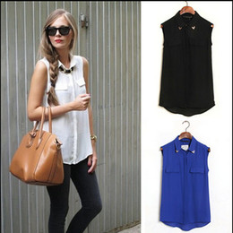 Wholesale Euro Style Candy - Hot sale EURO STYLE CANDY COLORS TURN DOWN COLLAR WITH RIVET SLEEVELESS CHIFFON BLOUSE FAKE POCKET WOMEN BLOUSE FREE SHIPPING