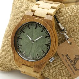 Wholesale Glow Birds - Wholesale- BOBO BIRD B22 Men's Bamboo Wood Wristwatch Ghost Eyes Wood Strap Glow Analog Watches with Gift Box