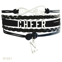 Wholesale Christmas Wrapping Drop Shipping - (10 Pieces Lot)Infinity Love Cheer Microphone Charm Suede Wrap Leather Bracelets For Women Men Gifts Jewelry Drop Shipping