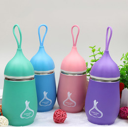 cartoons children Canada - 2017 Cartoon Stainless Steel Water Bottle with Rope Creative Thermos Vacuum Flask Cute Hot Water Bottle for Girl Children