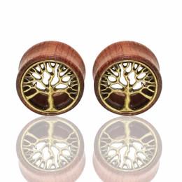 Wholesale Tree Life Ear Plugs - 1 Pair Tree of Life Wood Expanders Piercing Fashion Ear Plug Flesh Tunnels Gauge Stretcher to Ear Saddle Body Jewelry