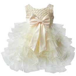 Wholesale Infant Baby Girl Party Outfits - Wholesale- 2016 Vestido Infantil Toddler Baby Infant Cake Sleeveless Dress Flower Girl Party Outfits Tutu Newborn Wedding New for 0-24M