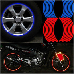 Wholesale Motorcycle Wheels Kawasaki - Motorcycle Styling Wheel Hub Rim Stripe Reflective Decal Stickers Safety Reflector Yamaha Suzuki Honda Kawasaki Victory BMW Triumph Ducati