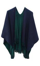 Wholesale Geometric Shawl Cape - Wowforu Women Winter Fringe Reversible Cashmere Poncho Capes Shawl Coat