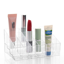Wholesale Wholesale Acrylic Cosmetic Display Stand - 24 Lipstick Holder Display Stand Clear Acrylic Cosmetic Organizer Makeup Case Sundry Storage makeup organizer organizador Brand W1124