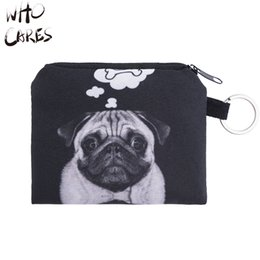 Wholesale Pug Print - Wholesale- Who cares Cat Pug Animal 3D Printing Bags girl Wallets Mim Coin Purse Card Holder Fashion New Brand Women Bag Monederos Wallet