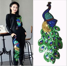 Wholesale Peacock Sequin Dress - 1pcs Colorful Sequin Peacock Embroidery Fabric Large Applique Patch African Lace Sew Dress Cloth Decorate Accessory Diy