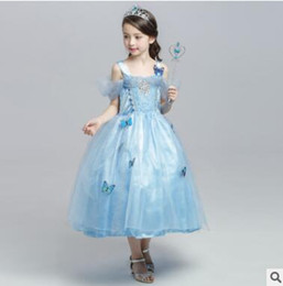 Wholesale Cinderella Halloween Costume - Princess Halloween Party Evening Costume Cinderella Children Cosplay Dress Party Girl Princess Off Shoulder Satin Dresses Kids Girls Dresses