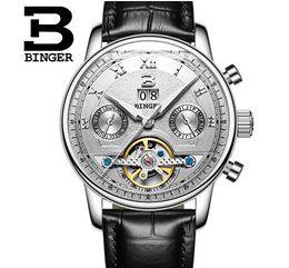 Wholesale Mechanical Binger - Sale Mens Mechanical Watches Relojes Binger 40mm Leather Tourbillon Automatic Watch Man Date Waterproof Military Men Wristwatch