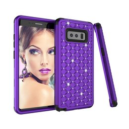 Wholesale Iphone 5s Diamond Bumper - Luxury Bling Diamond Case Shockproof Hard Back Cases For Sumsung Note8 Slim Hybrid PC Soft Bumper Silicone Cover For iPhone 7 6 6S Plus 5 5S
