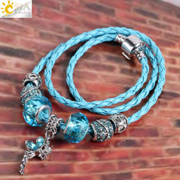 Wholesale Copper Functions - CSJA Angel Wing Fairy Pendant Charm Necklace Clear Murano Glass Rhinestone Beads Braid Leather Rope Multiple Function Jewelry for Women E713