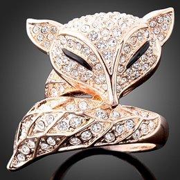 Canada Livraison Gratuite Mignon Cristal Fox Anneau Bijoux En Gros Or / Argent Plaqué Plein CZ Diamant Anneaux Mode Femmes Cadeau pour la Saint Valentin Offre