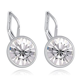 Wholesale Swarovski Elements Hearts - Bella mini pierced earrings made with original Swarovski elements white filled clear crystal best gift for women for Valentine's gift
