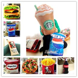 Wholesale Cushion Decorations - Simulated food stuffed dolls toys French Fries Cola Icecream Hamburger Pizza Fast food CUSHION PILLOWS Cute Funny Festivals gifts decoration