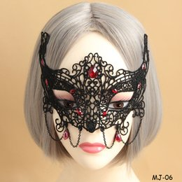 Wholesale Decorations For Masquerade - Ladies Sexy Black Lace Mask Masquerade Fox Resin Beads Half Face Female Masks Halloween Christmas Party Decoration Masquerade Masks Gifts
