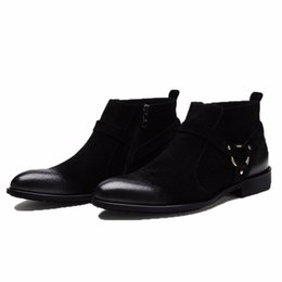 Wholesale Mens Wedding Boots - fashion men boots nubuck leather comfortable luxury wedding business mens shoes male ankle boots