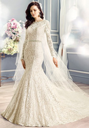 Wholesale Sleeved Lace Backless Wedding Dress - long sleeved full lace mermaid wedding dresses 2017 crystals and pearls beaded bateau neckline and waist chaple train wedding gowns