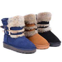 Wholesale Rabbit Fur Tanning - new Rabbit Fur Boots MNS Women Boots Double buckle boots Snow boots Hot sales women's winter snow boots Brand boots glitter2009