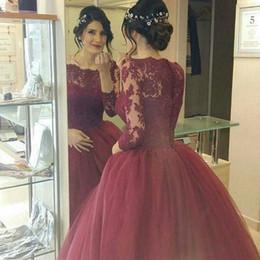 Wholesale Greeks Pictures - 2016 Vintage Burgundy Lace Arabic Wedding Dresses Greek Style Romantic Long Sleeves Princess Bridal Wedding Gowns Custom Made Vestidos De