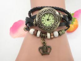 Wholesale Crown Leather Watch - wholesa 1000pcs lot Mix 7Colors Cow Leather women Watches Leather crown Charm Watches LP032