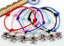 Wholesale Waxed Cord Adjustable Bracelet - Free 100pcs lotus flower String Evil Eye Lucky Red wax Cord Adjustable Bracelet NEW