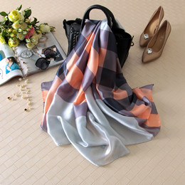Wholesale High Fashion Silk Scarves - [Visual Axles] 2017 Women Spring Luxury Plaid Silk Scarf Female High Quality Brand Foulard Silk Check Wraps Shawls Scarves