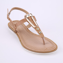 Wholesale Thong Size Large - HEYIYI T-Strap Shoes Sexy Flats Thongs Sweet Women's Summer Beach Casual Sandals Open Toes Large Size Blue Beige Orange Shoes Wholesale