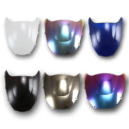 Wholesale Double Bubble Windshield - ABS Plastic Brand New 6 Color 1 Pcs Windshield WindScreen Double Bubble For Kawasaki Ninja ZX9R 1998 1999