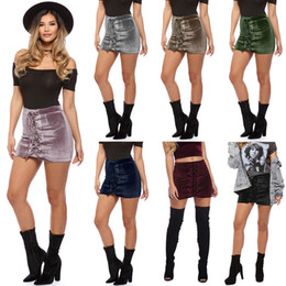 Wholesale Lace Drawstring Shorts - Ladies Fashion Tutu Mini Lace Up Suede Leather Women Skirt 90's Vintage Preppy Short High Waist Casual Skirts Womens