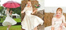 2015 blanc / ivoire 3/4 manches courte robe de mariée bijou dentelle Vintage thé longueur robes de mariée en stock vente chaude ? partir de fabricateur
