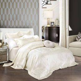 Wholesale Luxury Jacquard Bedding Silk - Wholesale- 2017 New Jacquard Silk Bedding Set Luxury 4 6pcs Bed Cover Satin Bedclothes Bed Linen Duvet Cover set Queen King Size