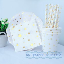 Wholesale Gold Shower Set - Wholesale-24 Sets Party Paper Dessert Tableware Gold Star Plates Foil Gold Drinking Paper Straws Star Cups for Bridal Shower Wedding