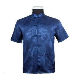 camisa del dragón del fu del kung Rebajas Camisa de abuelo Hombres Camisa de la nueva llegada Patrón de la tradición chino Patrón de dragón Kung Fu Camisas de manga corta M-L-XL-XXL-3XL