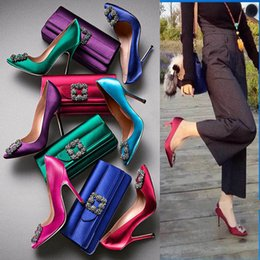 Wholesale Sweet Pumps - Sweet Square Rhinestone Buckle Silk Surface Women Pumps Sexy And Fashion 6cm 8cm 10cm High Heels Women Party Shoes 34-41