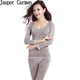 Wholesale Ladies Thermal Underwear Sets - Wholesale- Free shipping New Arrival 2017 Sexy Ladies Thermal Underwears Seamless Warm Long Johns Women Body Shaped Underwear Sets 13.6hfx