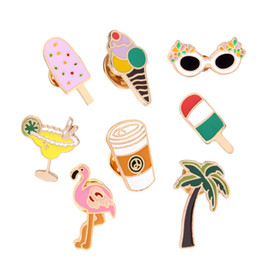 Wholesale Diamond Ice Drink - Summer Style Enamel Brooch Pins set Cute Beach Holiday Ice Cream Coffee Cold Drink Bird Glasses Brooch Set Women Jewelry Party