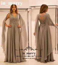 Wholesale Grey V Neck Dress - Sexy Grey Plus Size Mother of the Bride Dresses 2017 A Line V-Neck Lace Appliques Long Ruched Chiffon Illusion Back Formal Evening Gowns