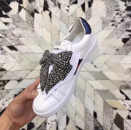 Wholesale Butterfly Beads - 2017 womens shoes white Genuine cow Leather Rhinestones beads pearl Jewelry knot Butterfly embroidery lace up low top Fashion Casual Shoes