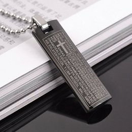 Wholesale Wholesale Silver Chain Byzantine - Holy Bible Scripture Cross Pendant Necklace for Men Women Stainless Steel Byzantine Chain Christian Jewelry Free shipping