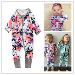 Wholesale Baby Orchids - INS Baby Romper Cute Orchid Printed Design Baby Boys Girls Bodysuits Sleepsuit Jumpsuit Cotton Newborn Infant Baby Clothes Kids Clothing 343