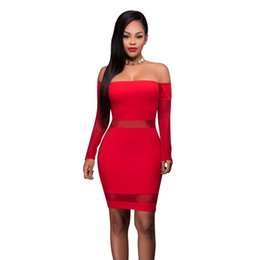 Wholesale Tight Mesh Dress - Tight Evening Off The Shoulder Long Sleeved Pullover Sexy Red Sheer Mesh Short Mini Dress Party Cocktail Slash Neck Dresses Clubwear