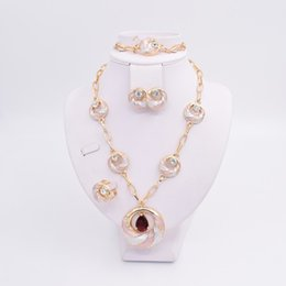 Wholesale 14k Gold Diamond Heart Necklace - 2017newest hot sale 18 Gold Plated Mysterious Charming Necklace bracelet earing Romantic wedding Jewelry Sets--006FY