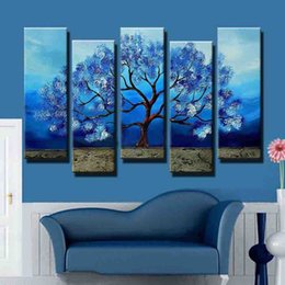 Wholesale Tree Artists Paintings - Fashion made huge wall art landscape blue tree oil painting on canvas artist hand painted home decorations