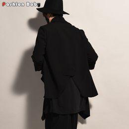 Wholesale Long Trench Coat Men Pieces - Wholesale- Gothic Men's Long Trench Coat Faux Two Pieces Fashion Costume Cardigan Coats 2016 Autumn New