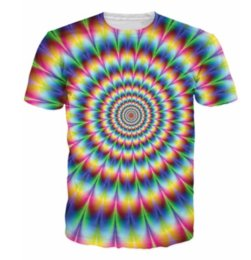 Wholesale Colorful Mens Clothes - 2017 New Arrive 3d Fashion Clothing Womens Mens Tees Into The Rainbow T-Shirt Psychedelic Colorful T Shirt Summer Style Camisetas AA190