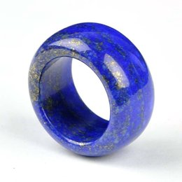 Wholesale Natural Hand Carved Stones - GENUINE Asia Natural Lapis Lazuli Jade Hand Carved Thumb Ring Size 20mm-22mm