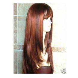 Pelo cobrizo rojo online-Nueva moda larga cobre rojo marrón peluca / pelo envío gratis
