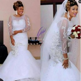 Wholesale Long White Dress Scalloped Neck - African Plus Size Bridal Gowns Major Beaded Crystals Sheer Neck Long Sleeves Wedding Dress Zipper Back Tulle Mermaid Wedding Dress