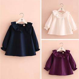 Wholesale Cute Wholesale Collared Shirts - 2016 new arrival spring autumn girls shirt children shirt Lotus leaf collar Long sleeve cute girl blue white purple 5pcs lot 2T-7T