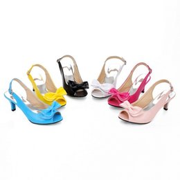 Wholesale Ladies Cute Sandals - New Fashion Women Medium Heels Sandals Shoes Cute Bow Summer Lady Rome Shoes 34-46